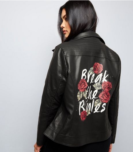 Curves Black Break The Rules Print Leather-Look Jacket  | New Look