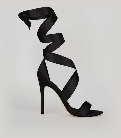 Black Satin Ribbon Tie Heels | New Look