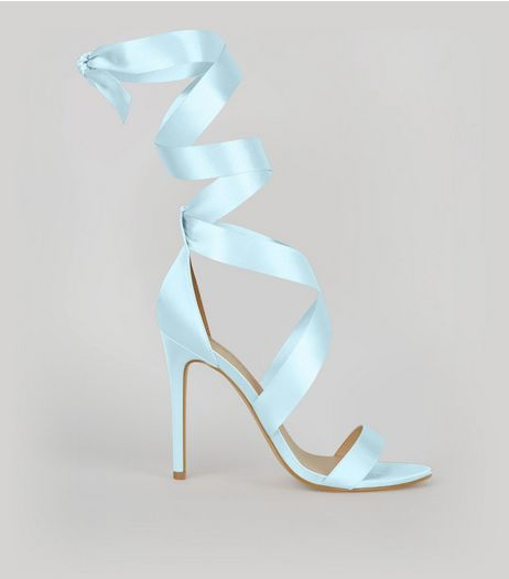 Pale Blue Satin Ribbon Tie Heels | New Look