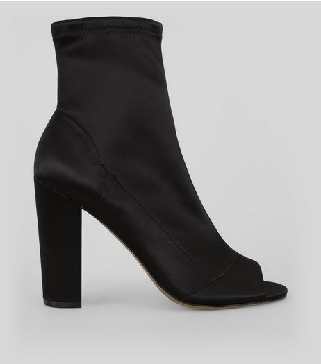 Black Satin Peep Toe Heeled Boots | New Look