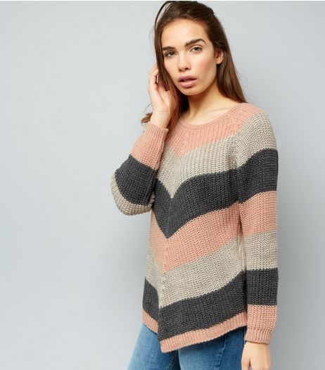QED Pink Knitted Stripe Jumper | New Look