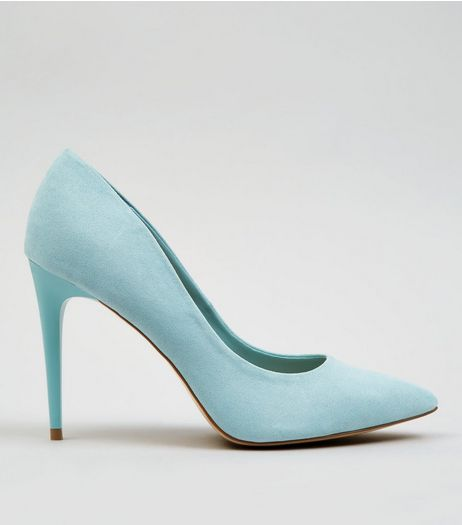 Pale Blue Suedette Heels  | New Look