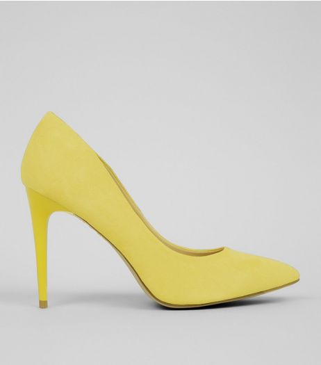 Yellow Suedette Pointed Court Shoes | New Look
