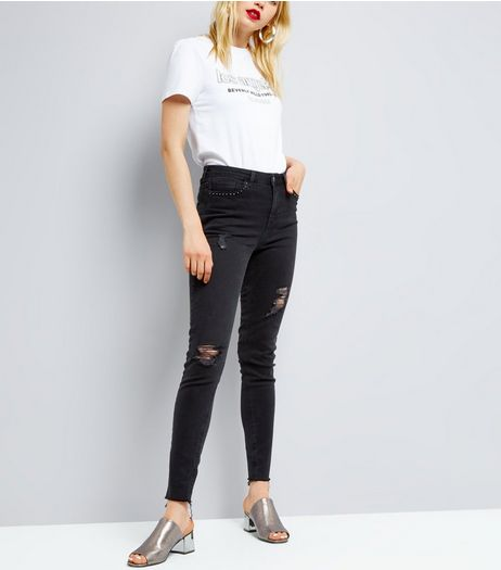 Tall Black Ripped Studded Skinny Jeans | New Look