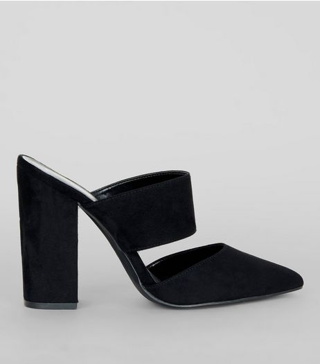 Black Suedette Double Strap Pointed Mules | New Look