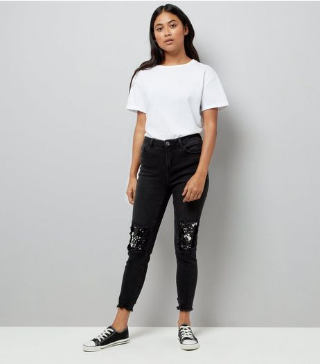 Petite Black Sequin Knee Fray Hem Skinny Jeans | New Look