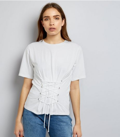 Tall Cream Lace Up Corset T-Shirt | New Look