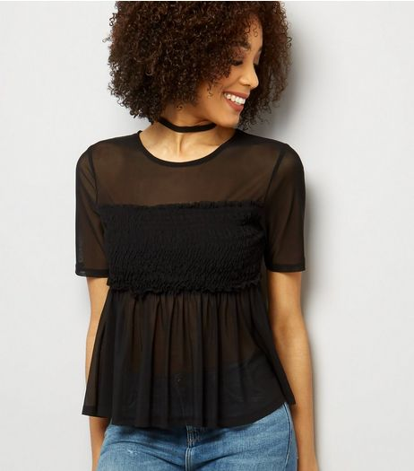Tall Black Shirred Mesh Top | New Look