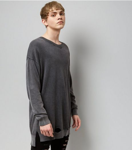 Dark Grey Washed Oversized Jumper  | New Look