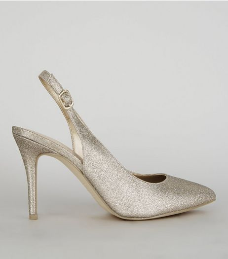 Gold Comfort Glitter Pointed Sling Back Heels | New Look