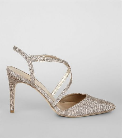 Gold Glitter Pointed Cross Strap Heels | New Look