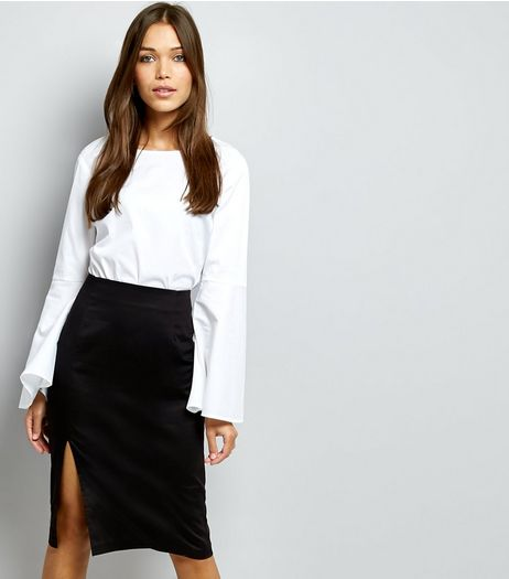 Black Cotton Mix Sateen Pencil Skirt | New Look