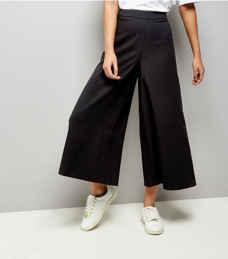Black Flared Wide Leg Trousers | New Look