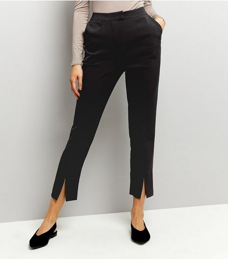Black Split Hem Trousers | New Look