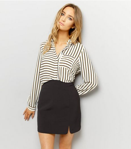 Black Split Side Mini Skirt  | New Look