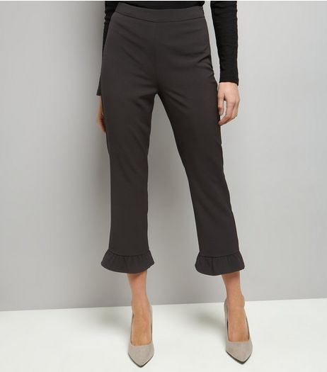 Black Frill Hem Slim Leg Cropped Trousers | New Look