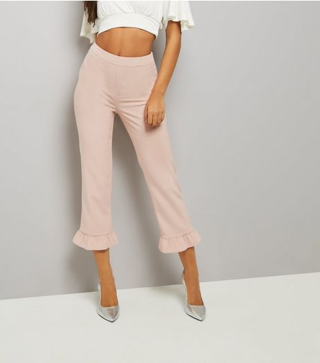Pink Frill Hem Slim Leg Cropped Trousers | New Look