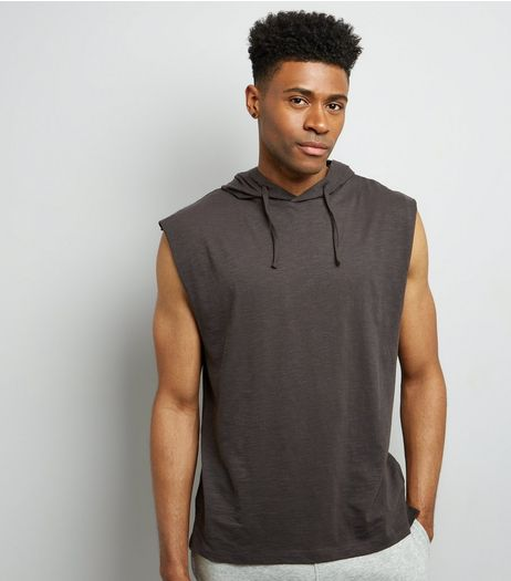 Dark Grey Sleeveless Hoodie | New Look