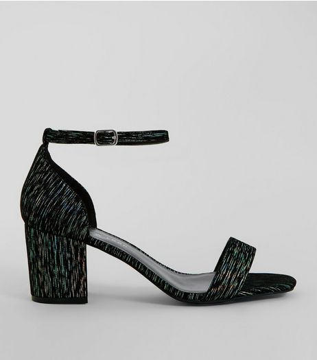 Wide Fit Black Iridescent Brocade Block Heel Sandals | New Look