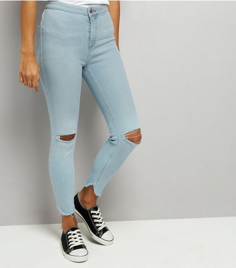 Petite Pale Blue High Waist Split Hem Skinny Hallie Jeans | New Look