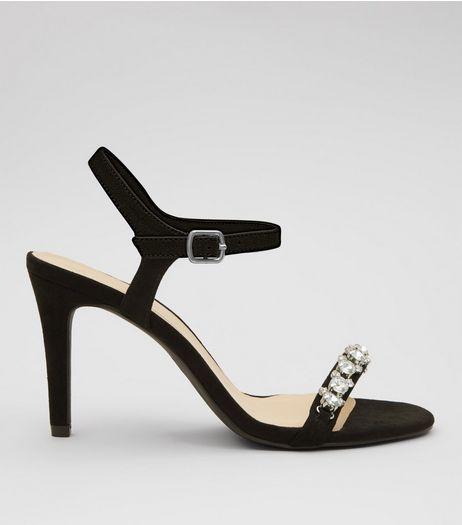 Wide Fit Black Gem Stone Strap Heeled Sandals | New Look