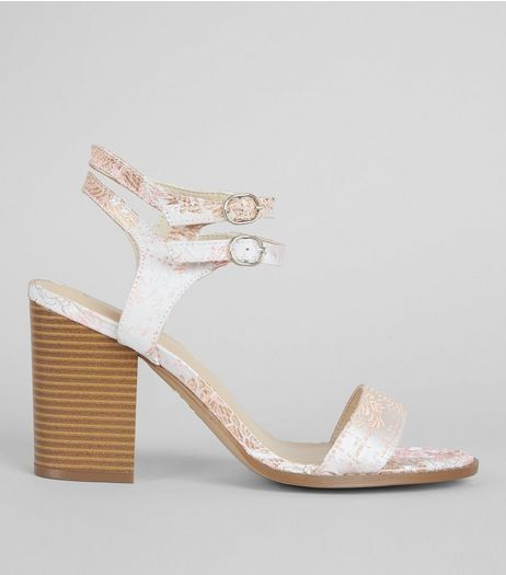 Wide Fit Pink Brocade Print Block Heels | New Look