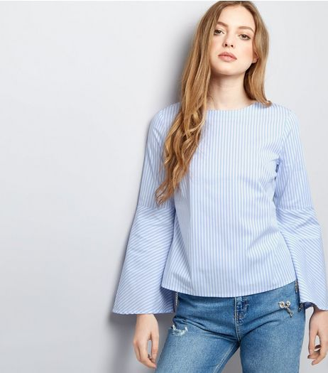Blue Stripe Flared Sleeve Top | New Look