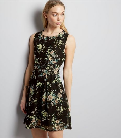 Apricot Black Floral Print Tie Back Dress  | New Look
