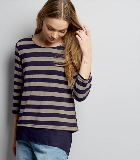 Apricot Navy Stripe Print Chiffon Top | New Look
