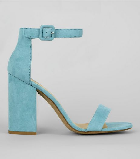 Pale Blue Ankle Strap Block Heels | New Look