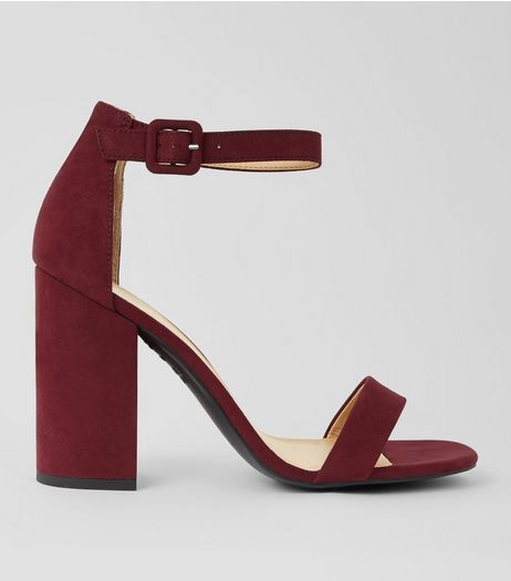 Burgundy Ankle Strap Block Heels | New Look