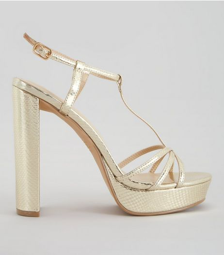 Gold Snakeskin Textured T Bar Platform Heels | New Look