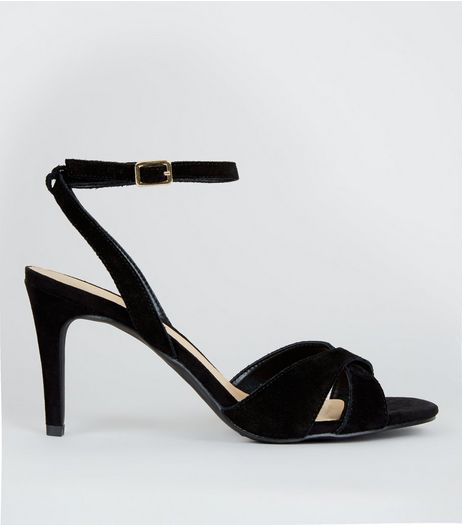 Black Suede Cross Strap Heeled Sandals | New Look