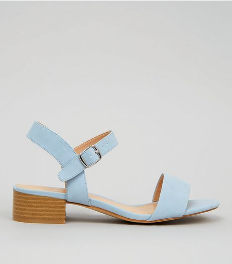 Pale Blue Low Block Heeled Sandals | New Look