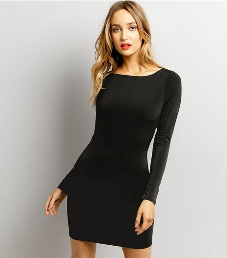 Black Cowl Back Long Sleeve Bodycon Dress | New Look