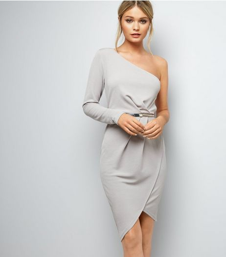 Mink Off the Shoulder Wrap Front Belted Bodycon Dress  | New Look