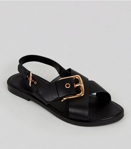 Wide Fit Black Leather Cross Buckle Strap Sandals | New Look