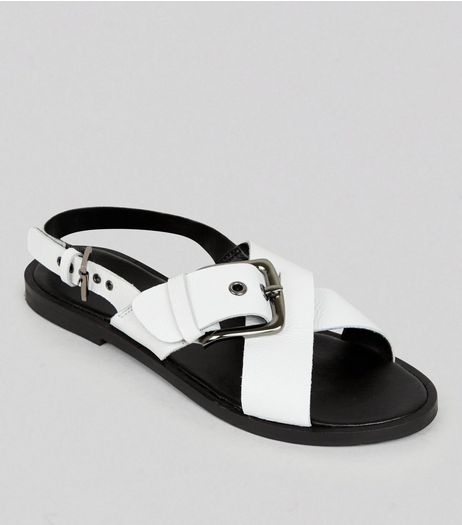 Wide Fit White Leather Cross Buckle Strap Sandals | New Look