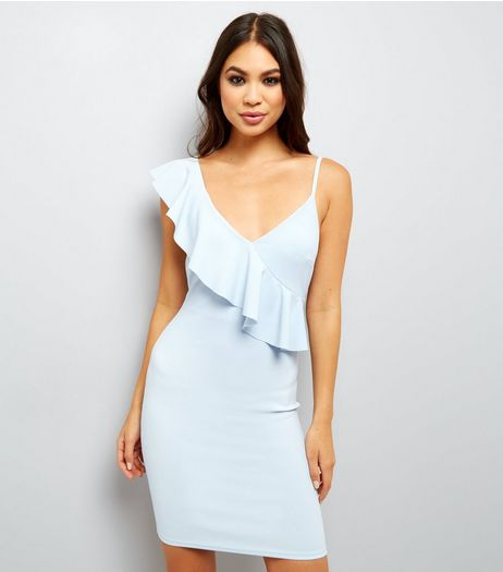 Pale Blue Frill Trim Bodycon Dress | New Look