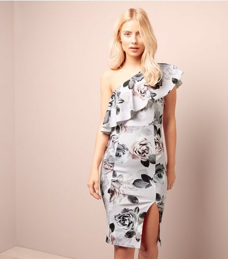 White Floral Print Asymmetric Frill Trim Bodycon Dress | New Look