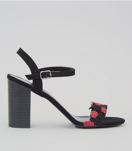 Black Suedette Floral Embroidered Lace Heeled Sandals | New Look