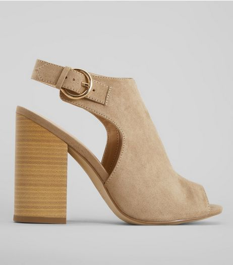Light Brown Suedette Peeptoe Block Heels | New Look