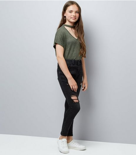Teens Black Ripped Skinny Jeans  | New Look