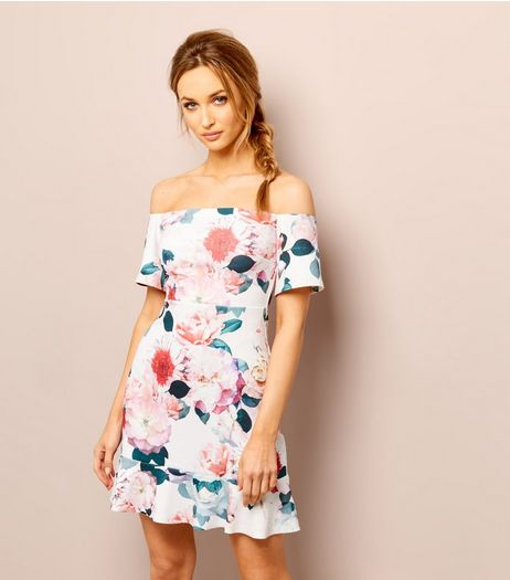White Floral Print Bardot Neck Flared Hem Dress  | New Look