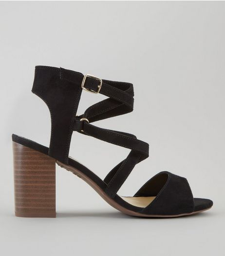 Wide Fit Black Suedette Cross Strap Heeled Sandals | New Look