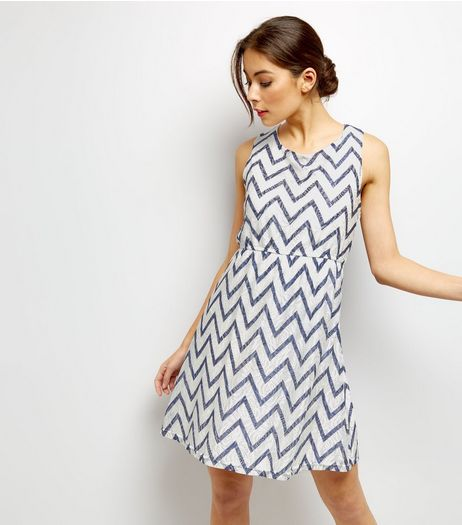 Mela White Zigzag Print Lace Dress | New Look
