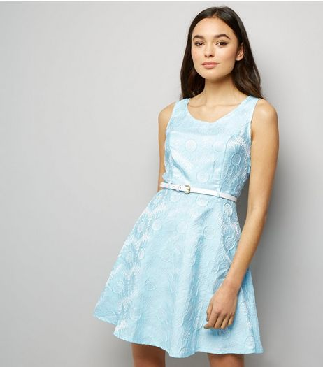 Mela Pale Blue Daisy Embossed Dress | New Look