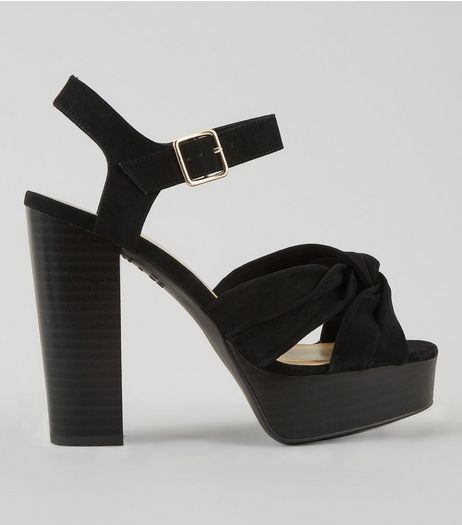 Wide Fit Black Suedette Knot Front Platform Heels | New Look