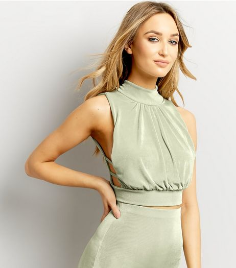 Light Green Ruched Front Sleeveless Crop Top  | New Look