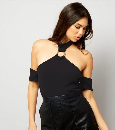 Black Ring Trim Cold Shoulder Bodysuit | New Look